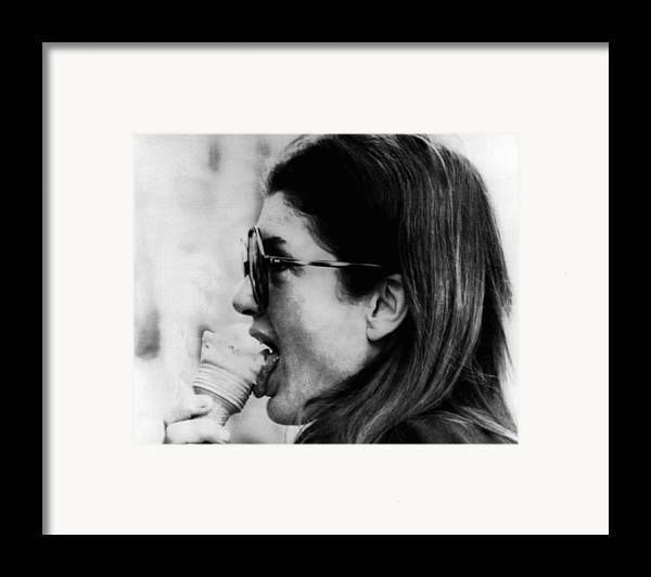 History Framed Print featuring the photograph Jacqueline Kennedy Onassis Licks An Ice by Everett