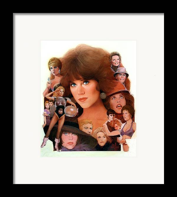 Jane Fonda Framed Print featuring the painting Jane Fonda Tribute by Bill Mather