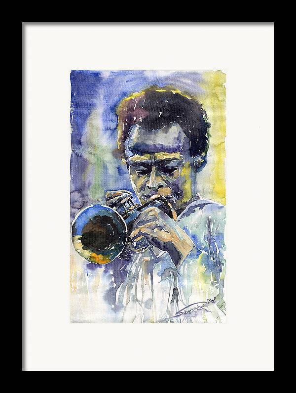 Jazz Framed Print featuring the painting Jazz Miles Davis 12 by Yuriy Shevchuk