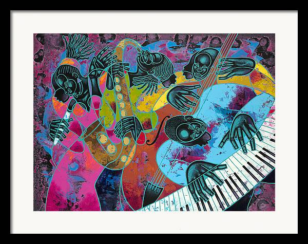Figurative Framed Print featuring the painting Jazz On Ogontz Ave. by Larry Poncho Brown