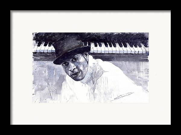 Jazz Framed Print featuring the painting Jazz Roberto Fonseca by Yuriy Shevchuk