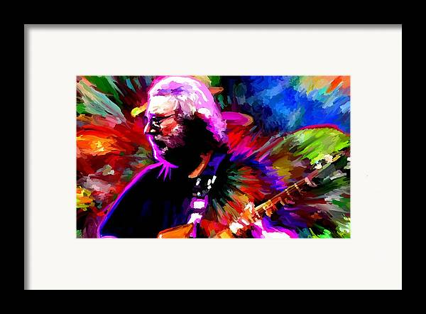 Jerry Garcia Framed Print featuring the painting Jerry Garcia Grateful Dead Signed Prints Available At Laartwork.com Coupon Code Kodak by Leon Jimenez