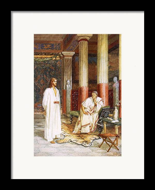 Bible; Jesus Christ; Pontius Pilate; Tiger Skin; Couch; Privately; Private Framed Print featuring the painting Jesus Being Interviewed Privately by William Brassey Hole