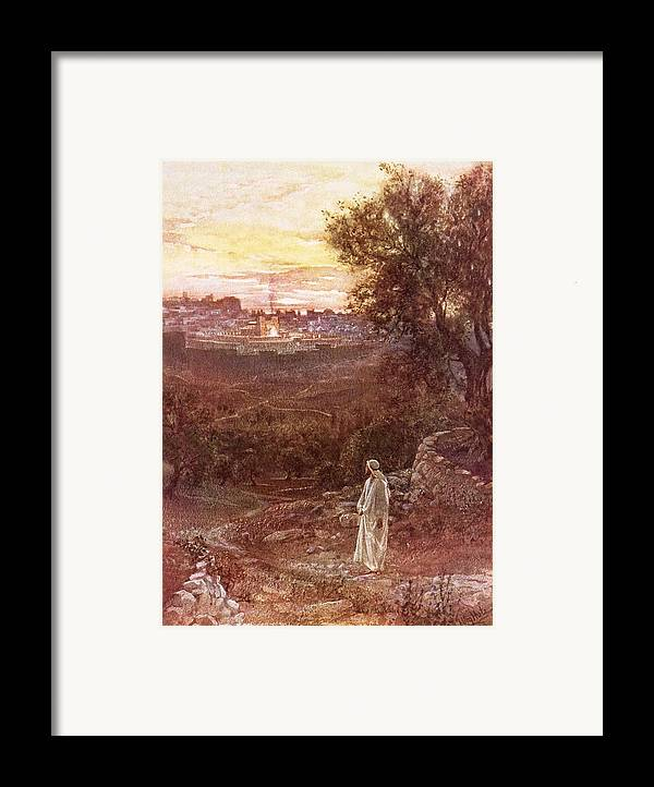 Bible; Jesus Christ; Mount Of Olives Framed Print featuring the painting Jesus On The Mount Of Olives by William Brassey Hole