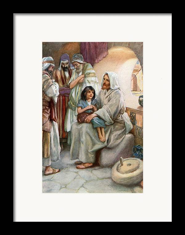 Bible; Biblical; Stories; Jesus; Teaching; People Framed Print featuring the painting Jesus Teaching The People by Arthur A Dixon
