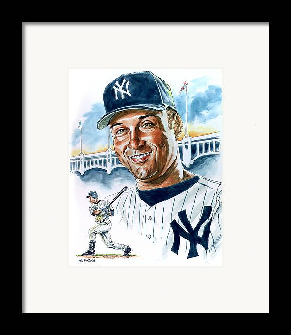 Jeter Framed Print featuring the painting Jeter by Tom Hedderich