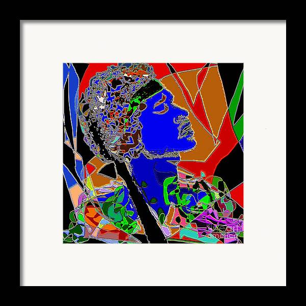 Portrait Framed Print featuring the painting Jimi In Heaven Colorful by Navo Art