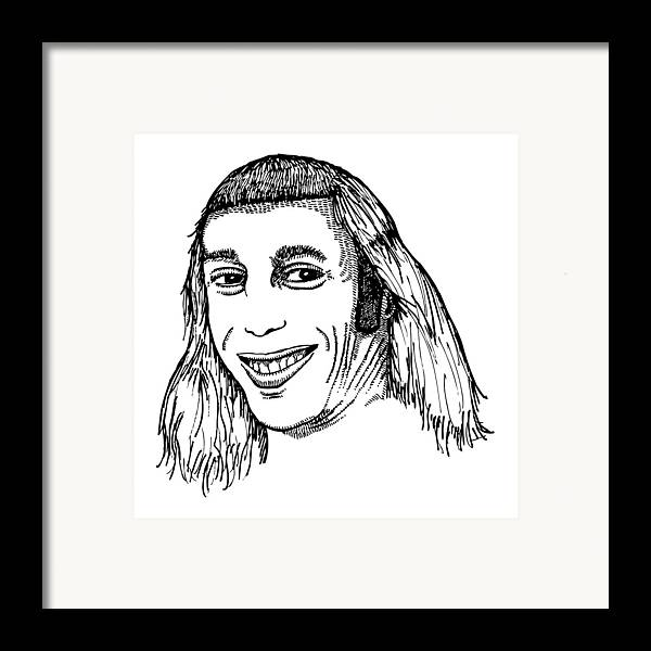 Drawing Framed Print featuring the drawing Joe Mullet by Karl Addison