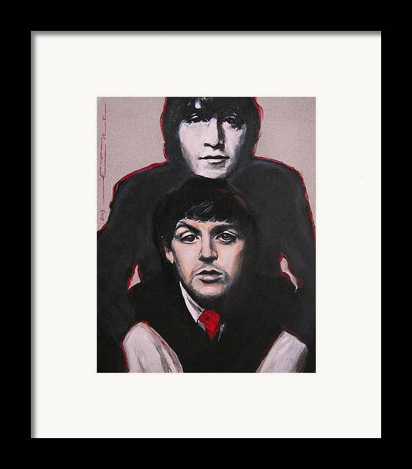 The Beatles Framed Print featuring the painting John's Ghost by Eric Dee