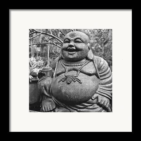 Happy Framed Print featuring the photograph Joyful Lord Buddha by Karon Melillo DeVega