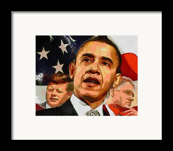Portrait Framed Print featuring the painting Kennedy-clinton-obama by Anthony Caruso
