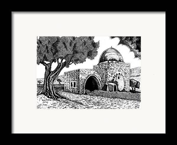 Landscape Art Framed Print featuring the drawing Kewer- Tomb Rachel by Jonatan Kor