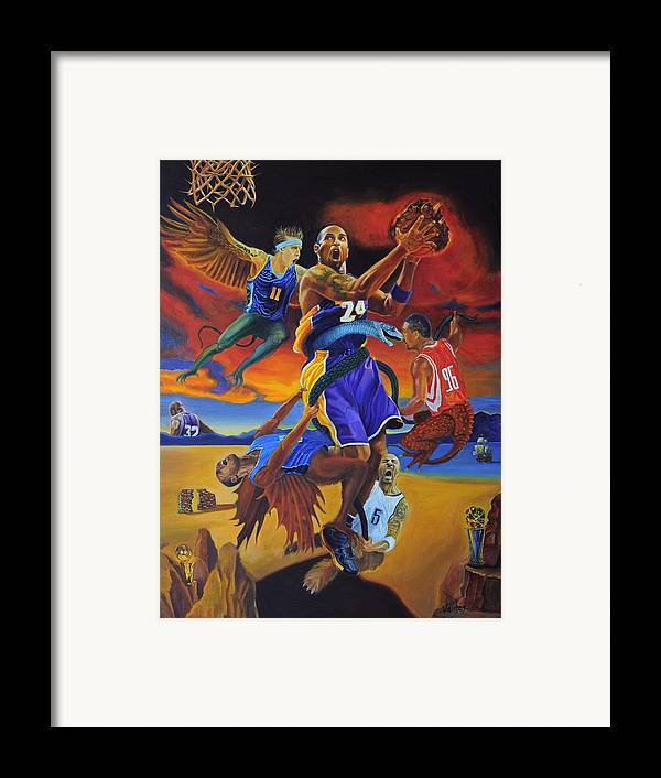 Kobe Bryant Framed Print featuring the painting Kobe Defeating The Demons by Luis Antonio Vargas