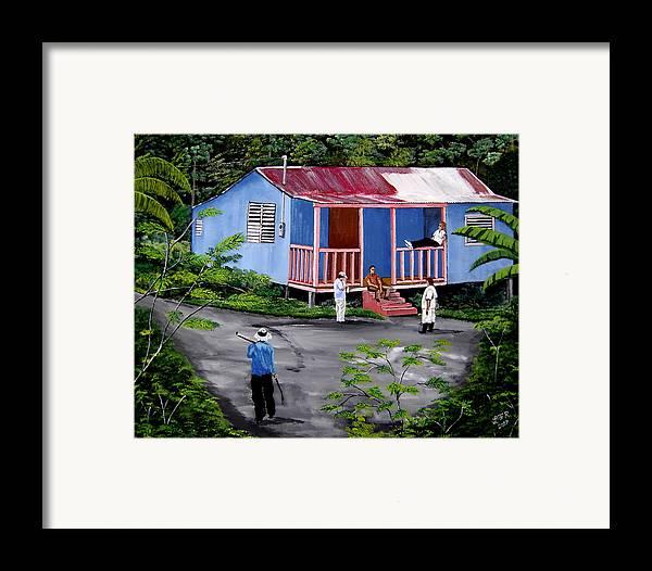 Campo Framed Print featuring the painting La Vida En Las Montanas De Moca by Luis F Rodriguez