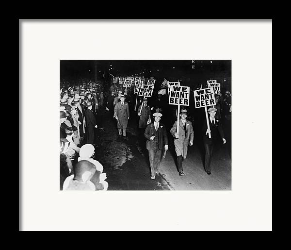 Historical Framed Print featuring the photograph Labor Union Members Protesting by Everett