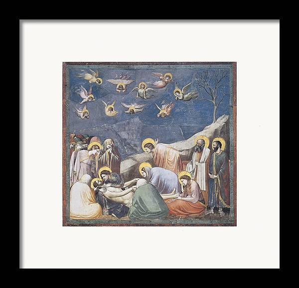 Giotto Di Bondone Framed Print featuring the painting Lamentation by Giotto Di Bondone