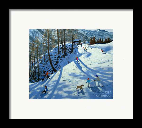 Sledge Framed Print featuring the painting Large Snowball Zermatt by Andrew Macara