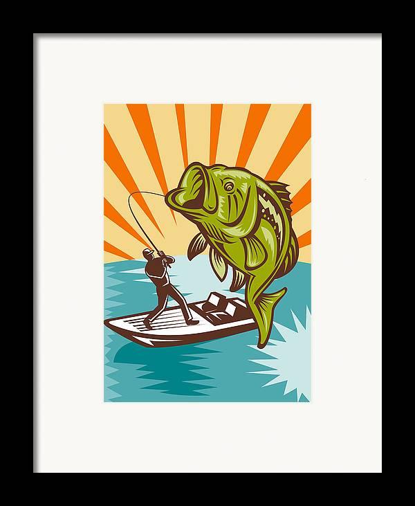 Largemouth Framed Print featuring the digital art Largemouth Bass Fish And Fly Fisherman by Aloysius Patrimonio