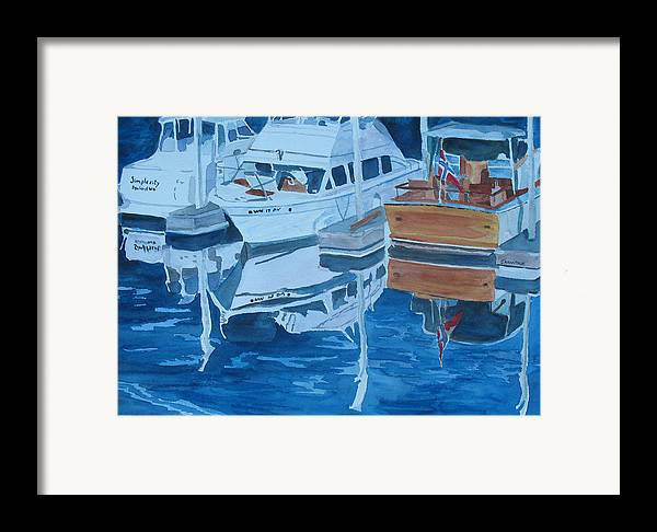 Boats Framed Print featuring the painting Late Afternoon Reflections by Jenny Armitage