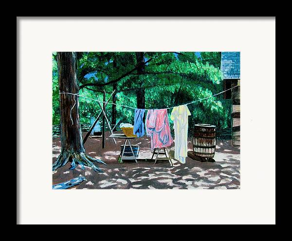 Original Oil On Canvas Framed Print featuring the painting Laundry Day 1800 by Stan Hamilton