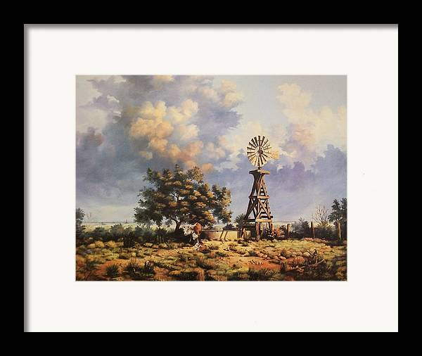 A New Mexico Landscape. Framed Print featuring the painting Lea County Memories by Wanda Dansereau