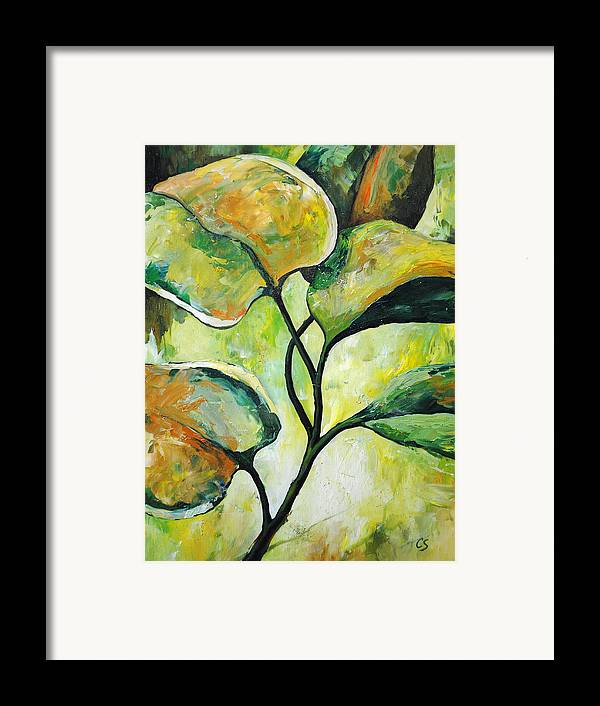 Leaves Framed Print featuring the painting Leaves2 by Chris Steinken