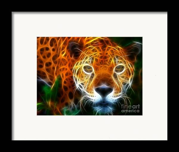 Leopard Framed Print featuring the mixed media Leopard Watching At His Prey by Pamela Johnson