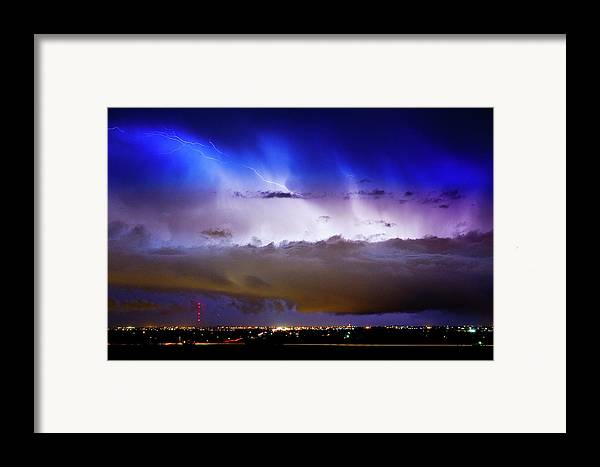 bo Insogna Framed Print featuring the photograph Lightning Thunder Head Cloud Burst Boulder County Colorado Im39 by James BO Insogna