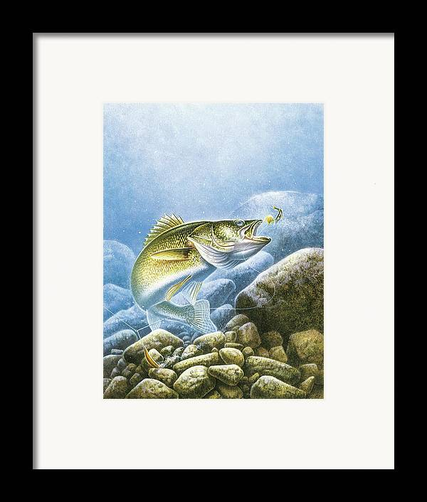 Jon Q Wright Framed Print featuring the painting Lindy Walleye by JQ Licensing