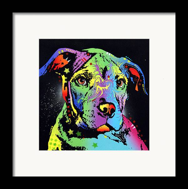 Dog Framed Print featuring the painting Little Pittie Warrior by Dean Russo