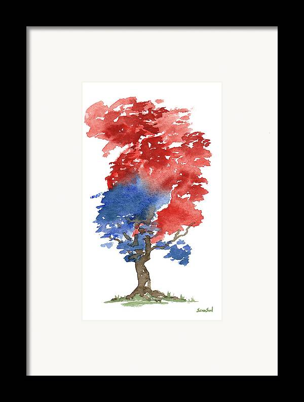 American Framed Print featuring the painting Little Zen Tree 292 by Sean Seal