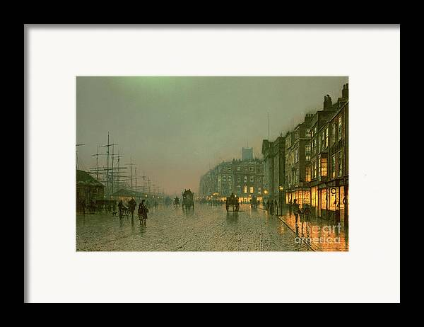 Liverpool Docks From Wapping Framed Print featuring the painting Liverpool Docks From Wapping by John Atkinson Grimshaw