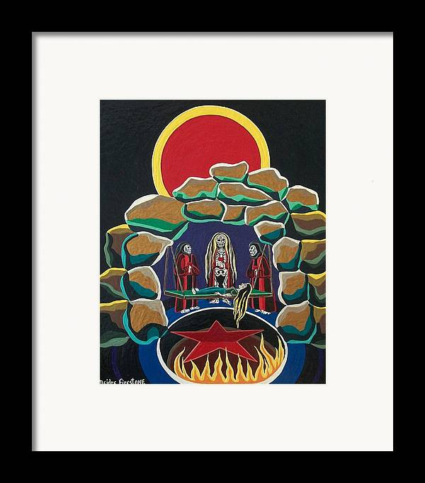 Pentagram Art Framed Print featuring the painting Lost Souls Outside The Spiritual Blood Of The Covenant by Deidre Firestone