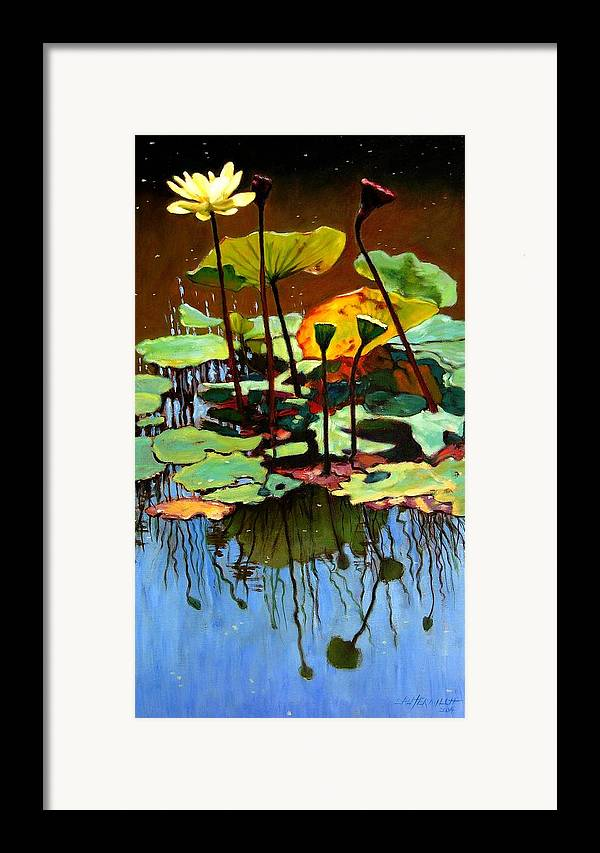 Lotus Flower Framed Print featuring the painting Lotus In July by John Lautermilch