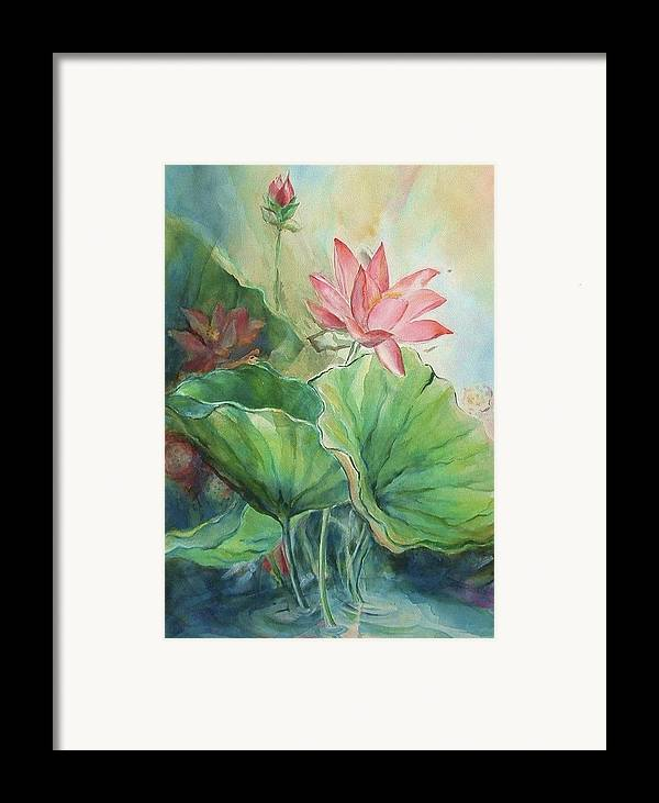 Lotus Framed Print featuring the painting Lotus Of Hamakua by Wendy Wiese