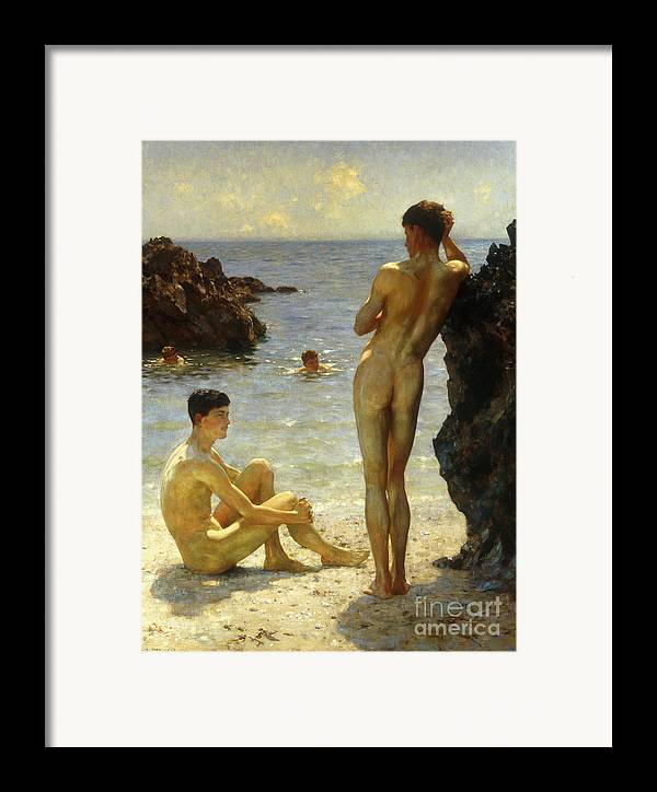Nudes Framed Print featuring the painting Lovers Of The Sun by Henry Scott Tuke