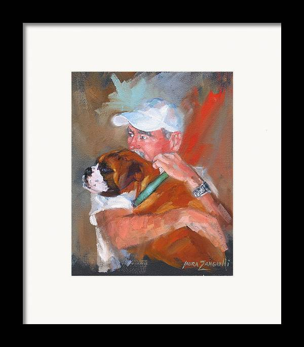 Oil Painting Framed Print featuring the painting Loving Roxie by Laura Lee Zanghetti