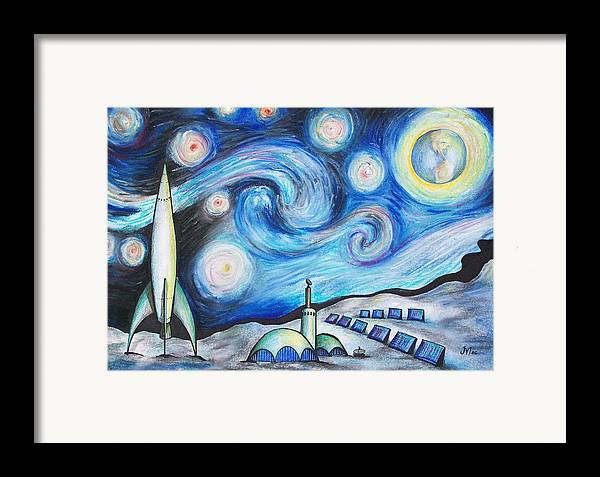 Space Framed Print featuring the drawing Lunar Starry Night by Jerry Mac