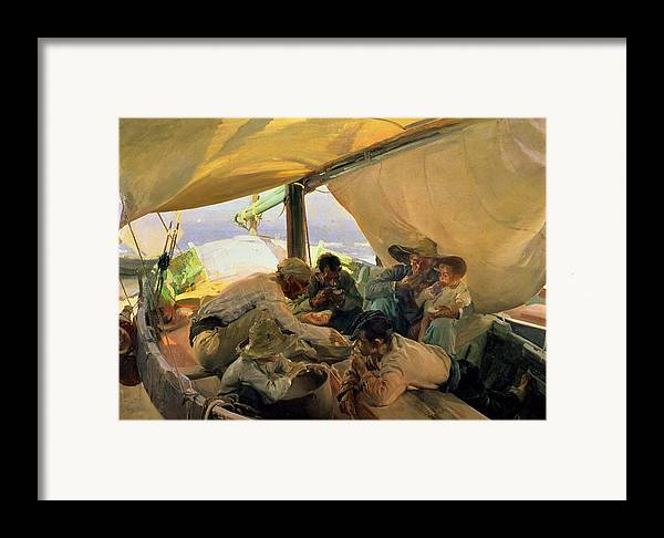 Boat Framed Print featuring the painting Lunch On The Boat by Joaquin Sorolla y Bastida