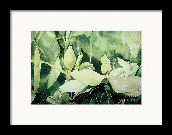 Magnolias Framed Print featuring the painting Magnolium Opus by Elizabeth Carr