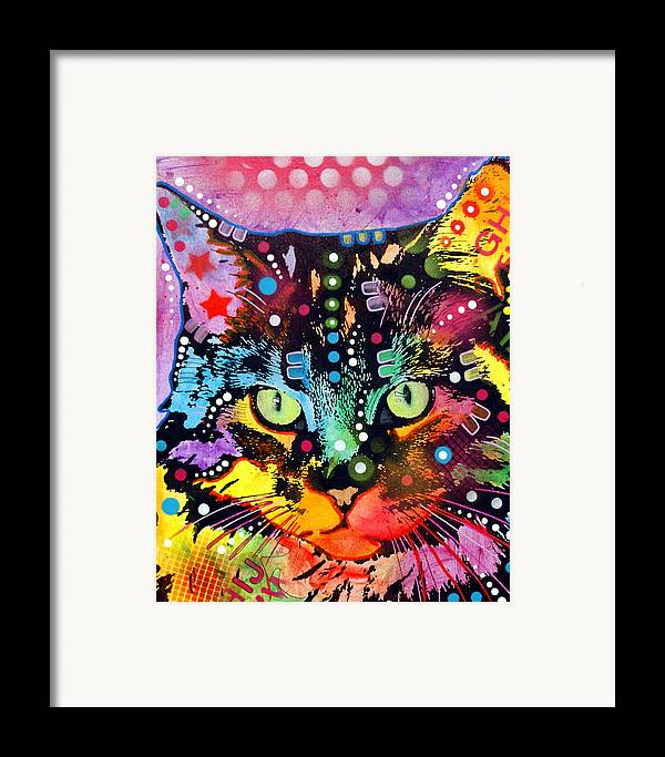 Dean Russo Framed Print featuring the painting Maine Coon by Dean Russo