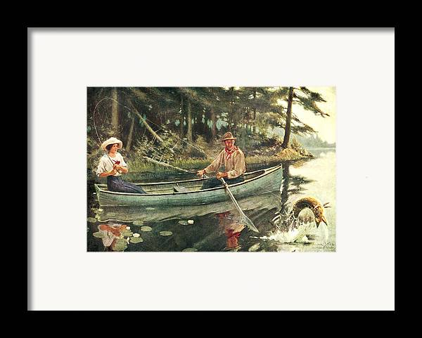 Frank Stick Framed Print featuring the painting Man And Woman Fishing by JQ Licensing