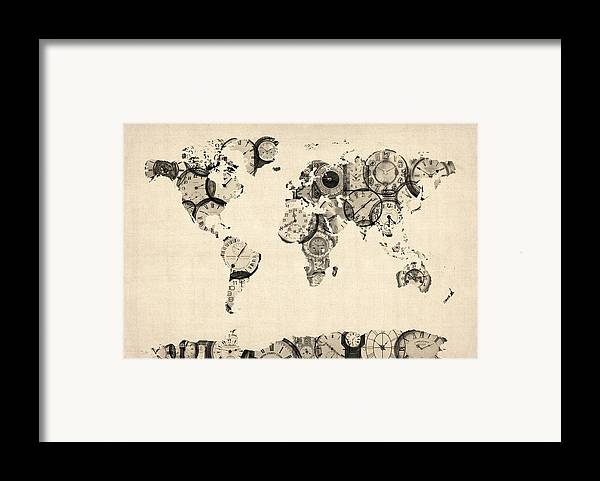 World Map Framed Print featuring the digital art Map Of The World Map From Old Clocks by Michael Tompsett