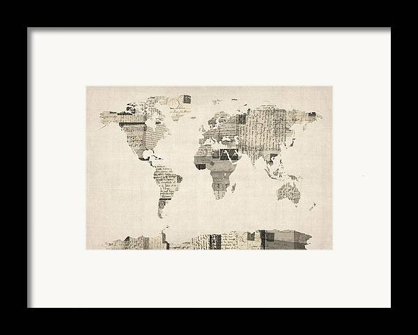 World Map Framed Print featuring the digital art Map Of The World Map From Old Postcards by Michael Tompsett