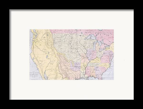 Map Framed Print featuring the painting Map Showing The Localities Of The Indian Tribes Of The Us In 1833 by Thomas L McKenney and James Hall