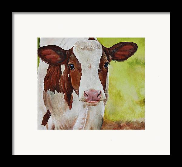 Cow Framed Print featuring the painting Marigold by Laura Carey