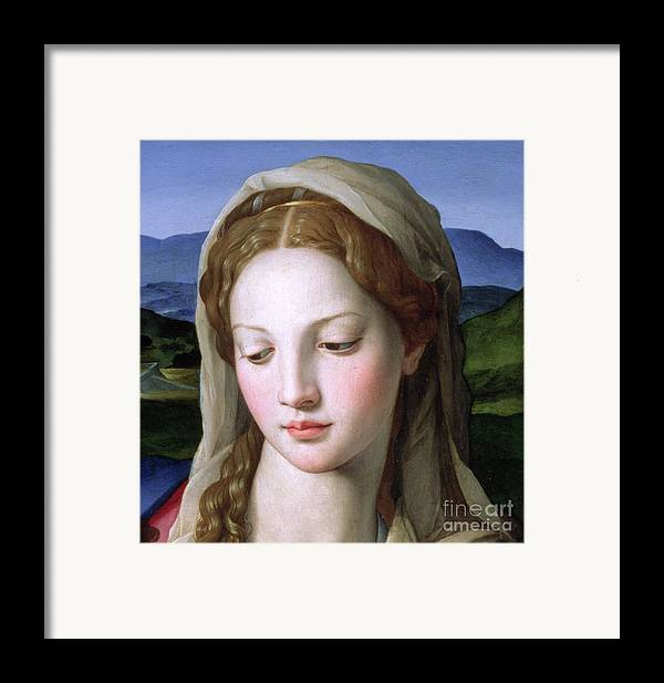 Holy Framed Print featuring the painting Mary by Agnolo Bronzino