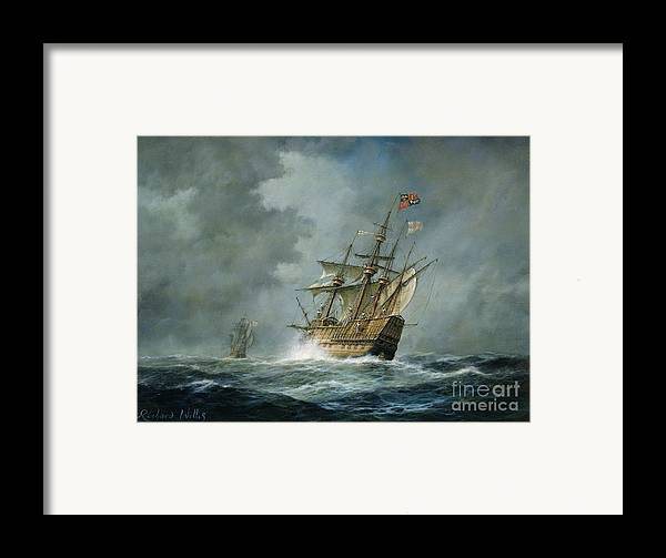 Ship; Ships; Boat; Boats; Tumultuous Seas; Stormy; Water; English Flag; Banner; Sailing; Henry Viii; Grey; Darkened; Ominous Skies; Sky; Wave; Waves; Sea Framed Print featuring the painting Mary Rose by Richard Willis