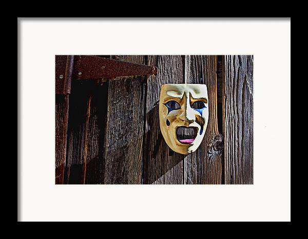 Mask Framed Print featuring the photograph Mask On Barn Door by Garry Gay