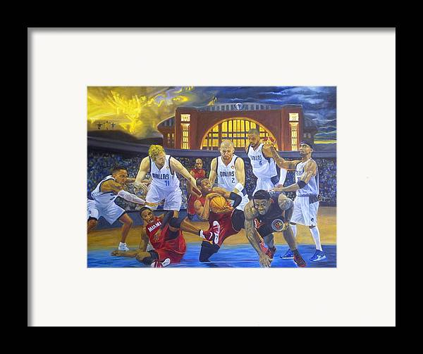 Mavs Framed Print featuring the painting Mavericks Defeat The King And His Court by Luis Antonio Vargas